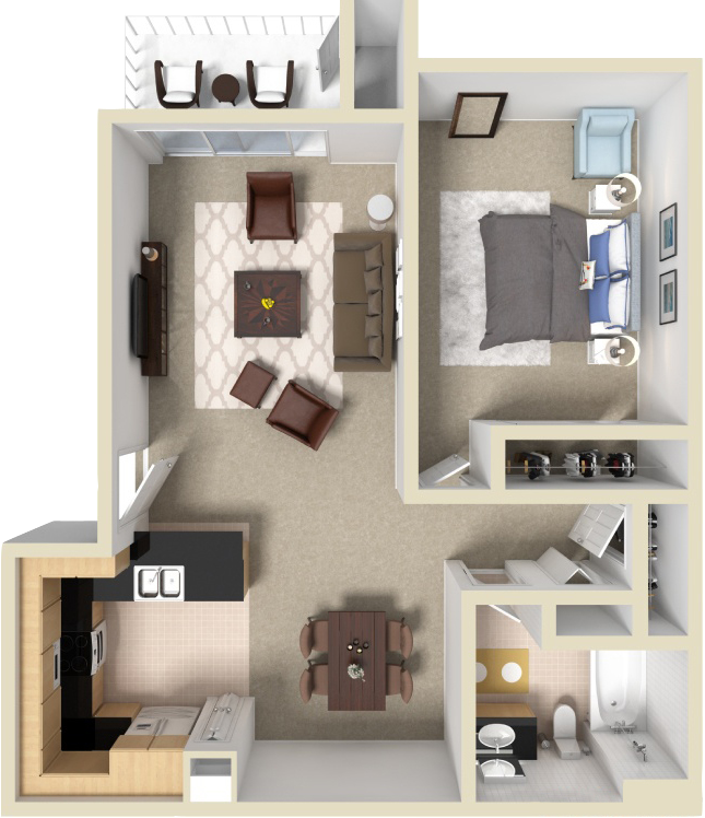 1 Bed • 1 Bath 650 Sq. Feet